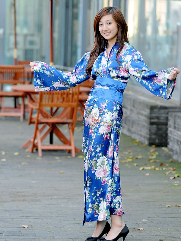 Blue Japanese Kimono Dress Dark Sea Blue Japanese Style Silk Kimono Dress Price 89 95 As A