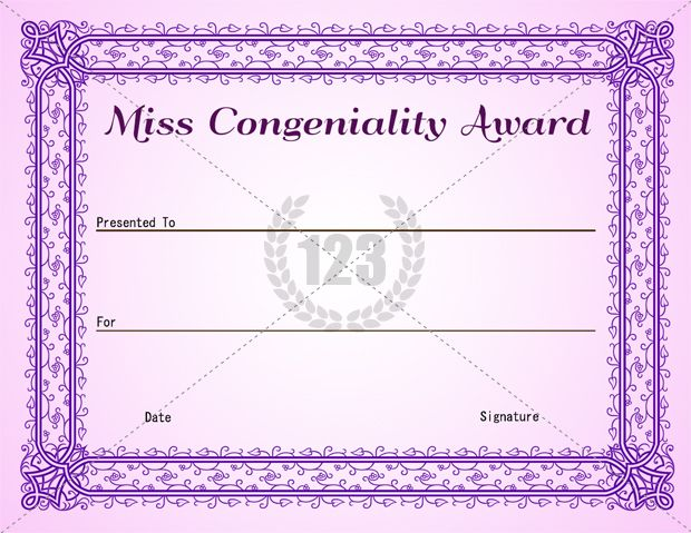 Miss Congeniality Award Template Free And Premium  Certificate