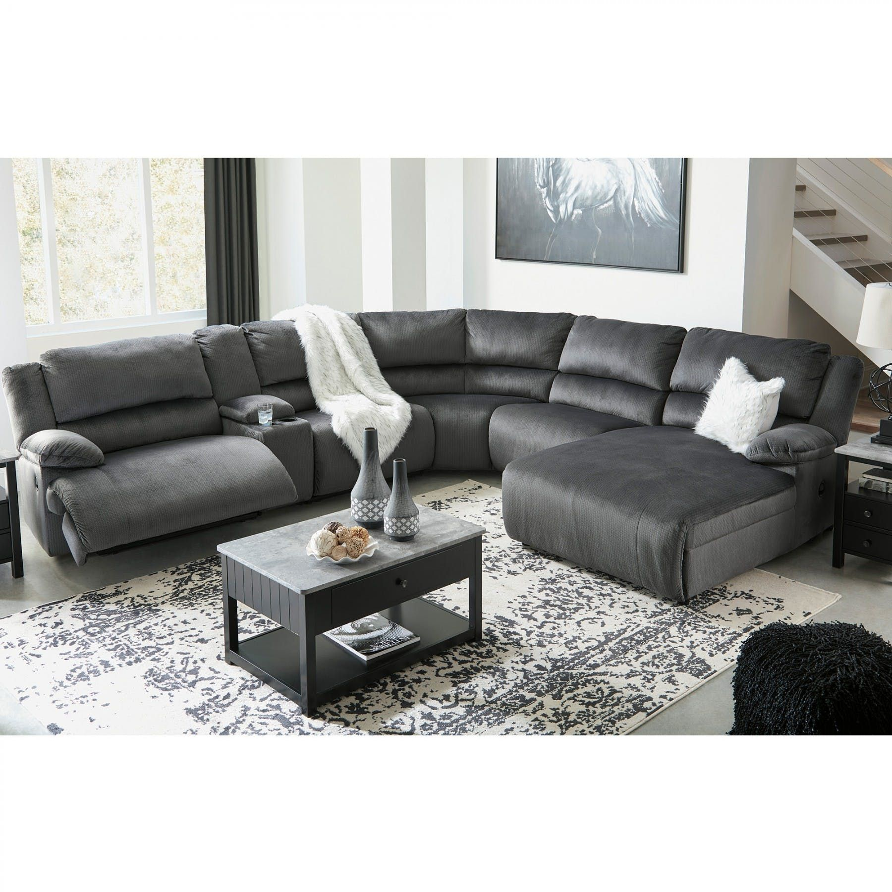 Best Clonmel Charcoal 6 Piece Sectional Motion Sectionals Living Room Bernie Phyl's 400 x 300