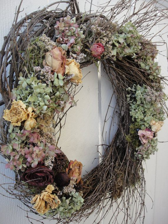 Natural  Twig Wreath With Dried Floral     Hand Crafted Wreath  Wedding Wreath  Rustic Wedding Wreath  Front Door Wreath on Etsy, $55.00