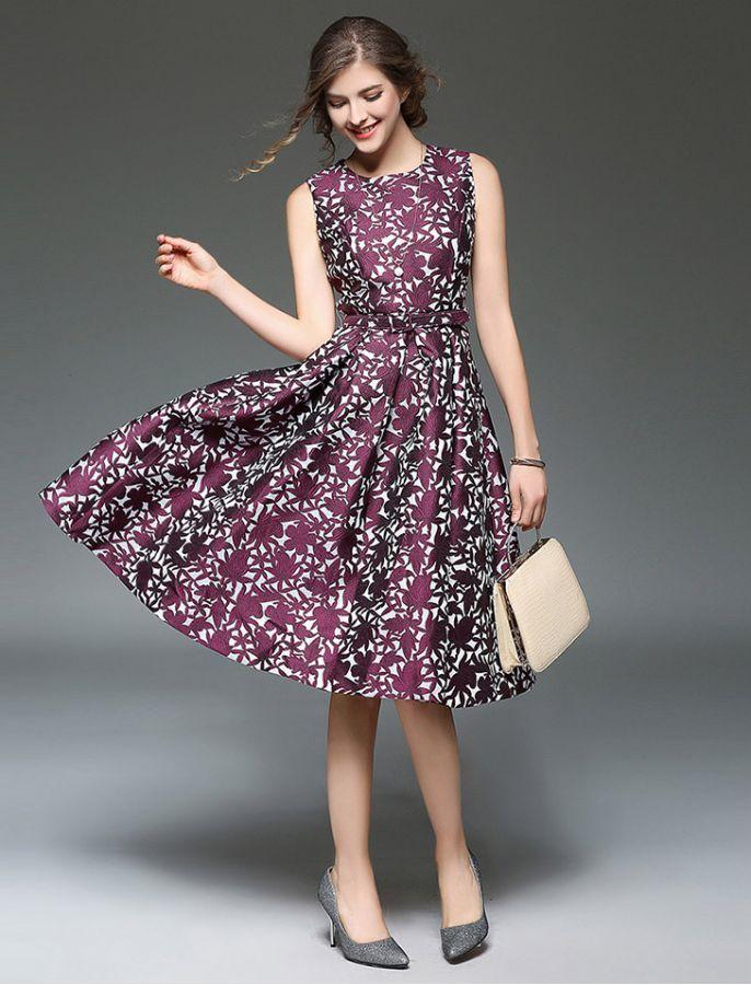 1950s Vintage Style Purple Power Floral Print Stylish Retro Dress ...