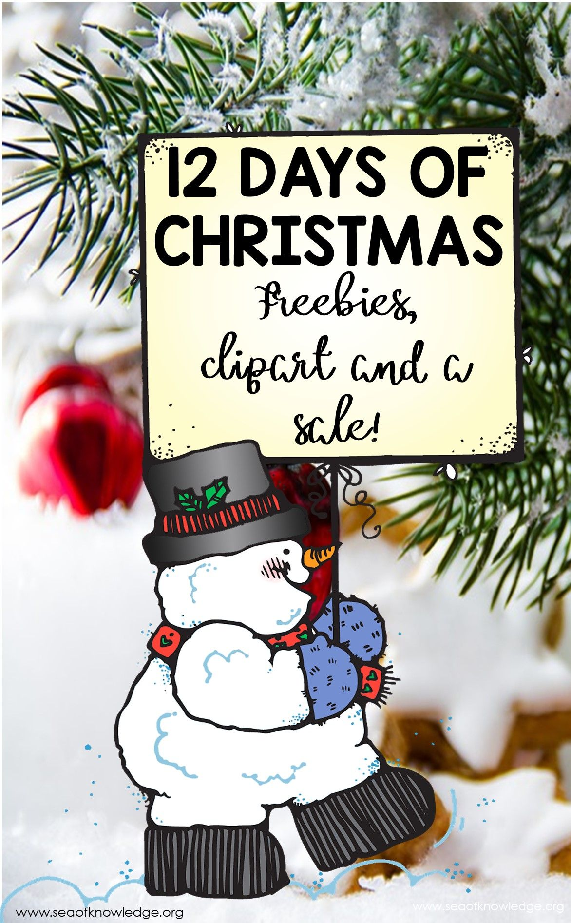 12 Days Of Christmas Activities And Clipart Freebies With