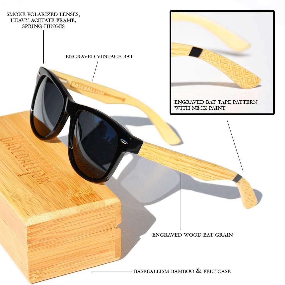 Baseball Bat Grain Sunglasses Backyard Baseball Wood Bat Engraved Wood