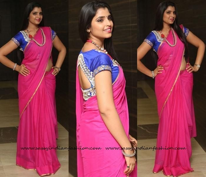 c7336c4ffe36b7 Pink Pink Saree with Zari Border