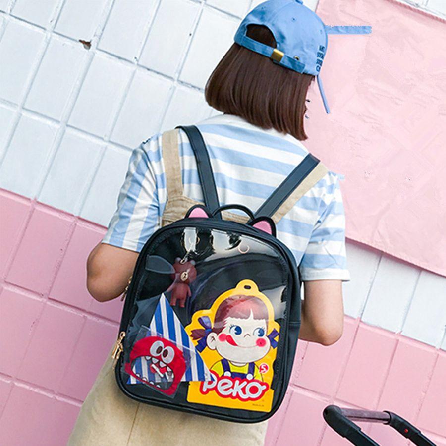 8a056b8ee175 ... Suppliers  Lovely Cat Ear Leather Backpacks Candy Color Transparent Bag  Children Shoulder Bags School Teenage Girls Travel Bagpack Itabag Backpacks