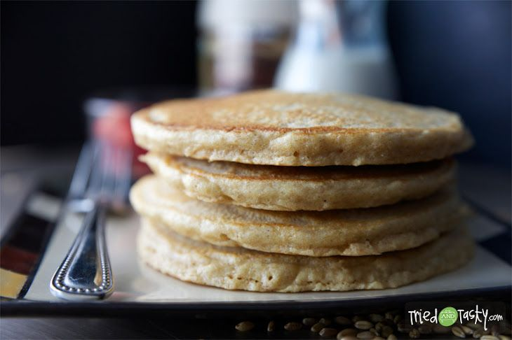 100% Whole Wheat Pancakes Recipe Breakfast and Brunch with whole wheat flour, baking powder, baking soda, honey, eggs, unsweetened almond milk, coconut oil