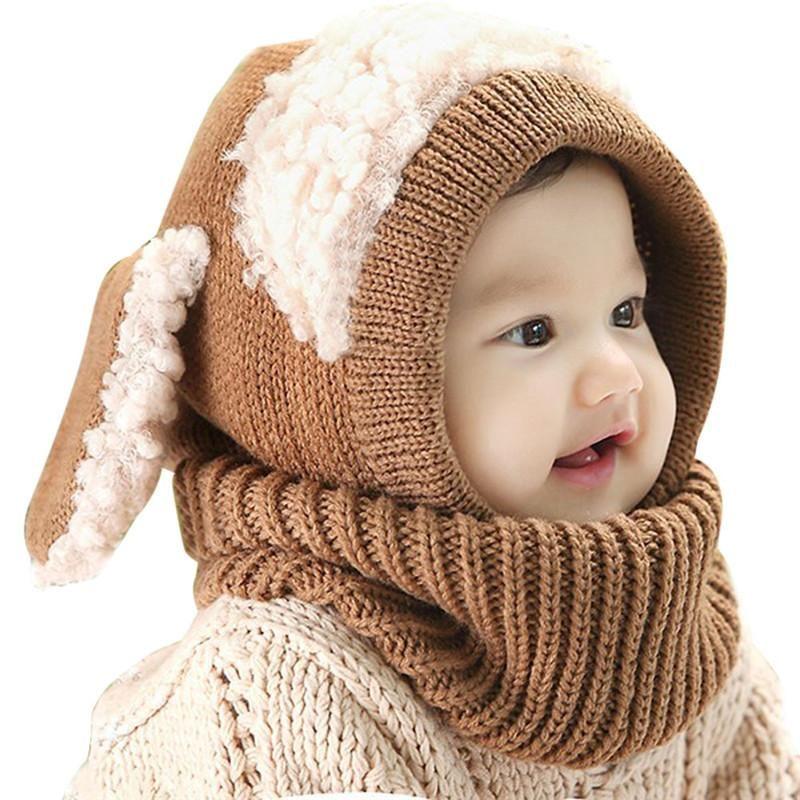 Baby Winter Hat Cute Ears Knitted Children Beanie Adjustable Warm Bonnet Cap
