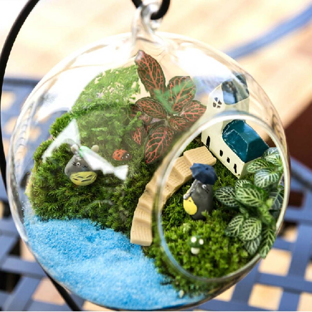 DIY Micro Landscape Plant Glass Hanging Ball With Iron Rack Home ...