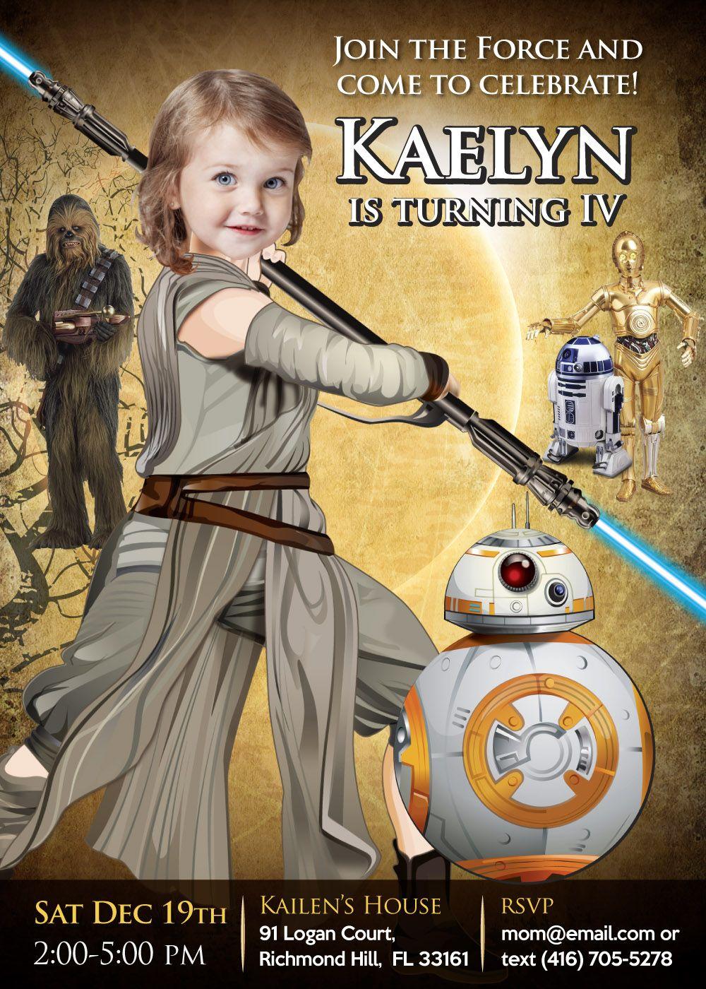 Star Wars Birthday Invitation For Girls Jedi Rey Party Ideas