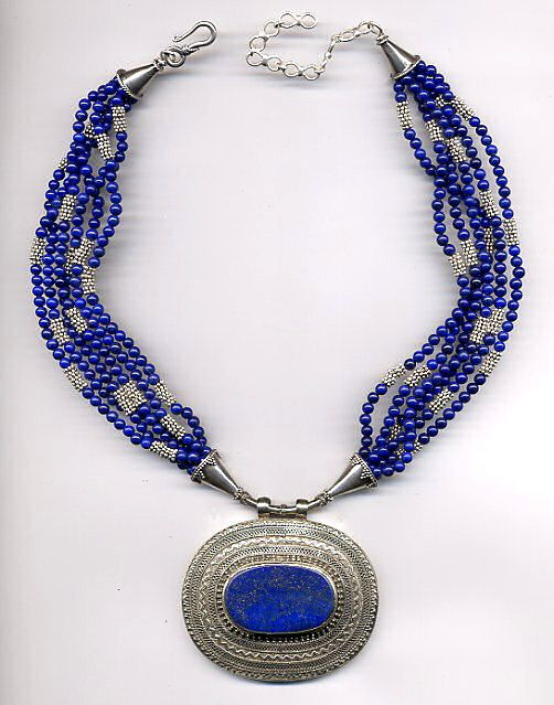 Afghan lapis pendant multi strand lapis and sterling necklace afghan lapis pendant multi strand lapis and sterling necklace beautiful mozeypictures Images