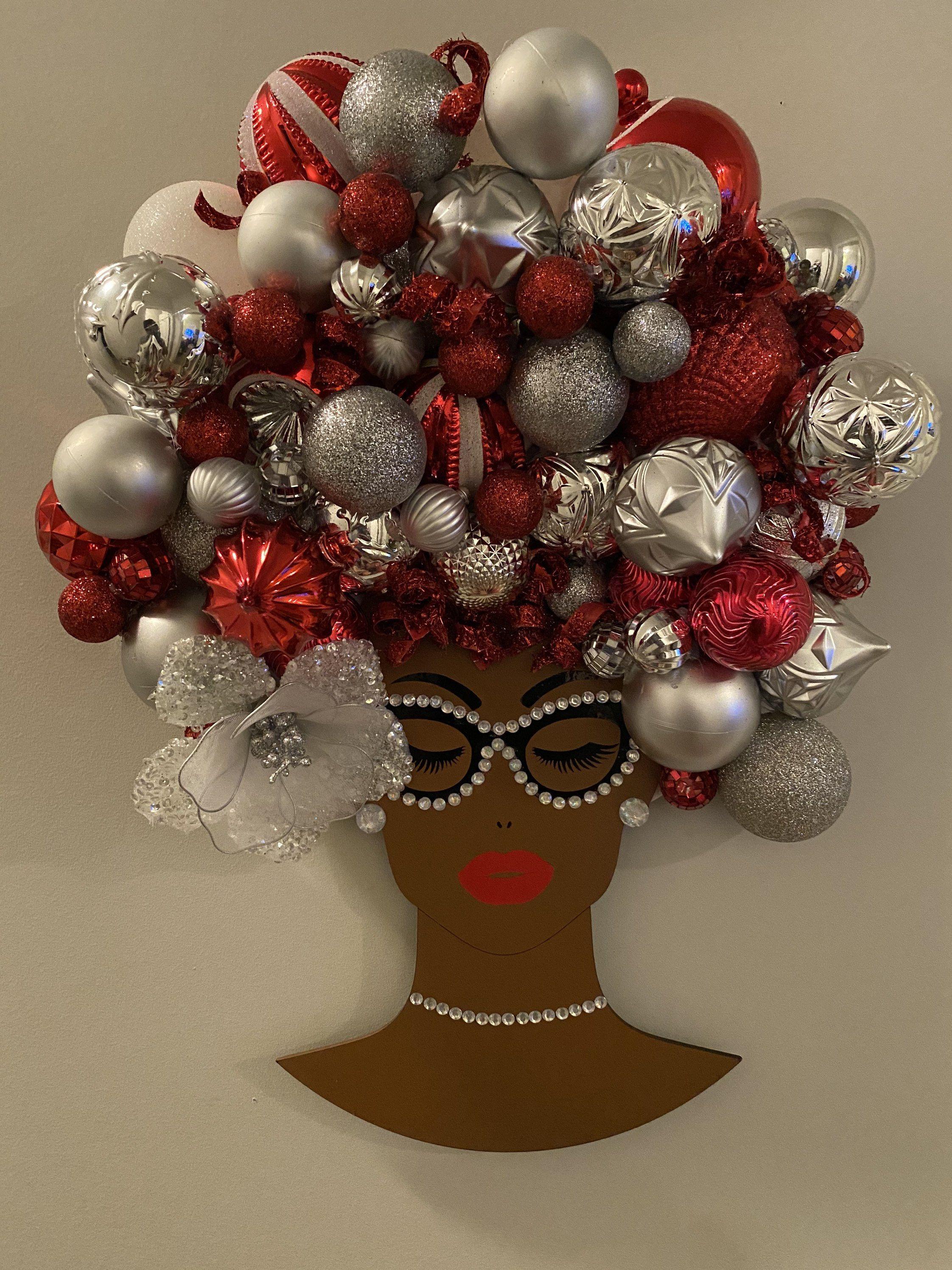 Christmas Bling Diva Wreath African American Wall Hanging Door Etsy Christmas Wreaths Diy Easy Pink Christmas Wreath Christmas Wreaths Diy