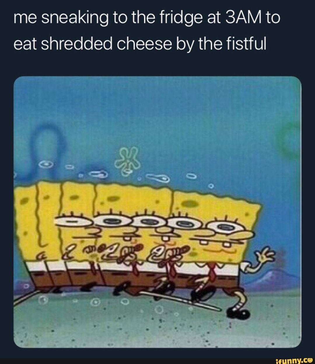 Me Sneaking To The Fridge At Sam To Eat Shredded Cheese By The Fistful Ifunny Spongebob Funny Funny Memes Spongebob Memes