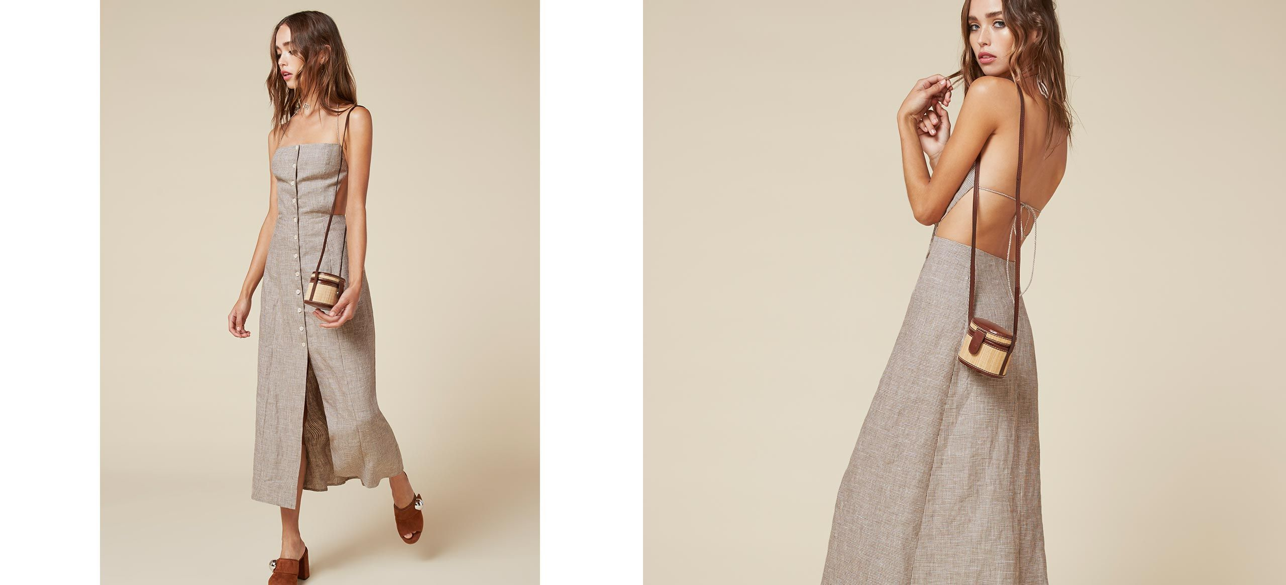 When it's too hot for a full dress. This is a button front, ankle length dress with an open back and straight neckline.