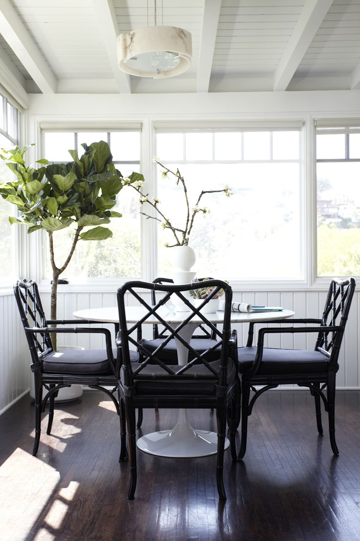 bright and airy family room makeover chippendale chairs tulip