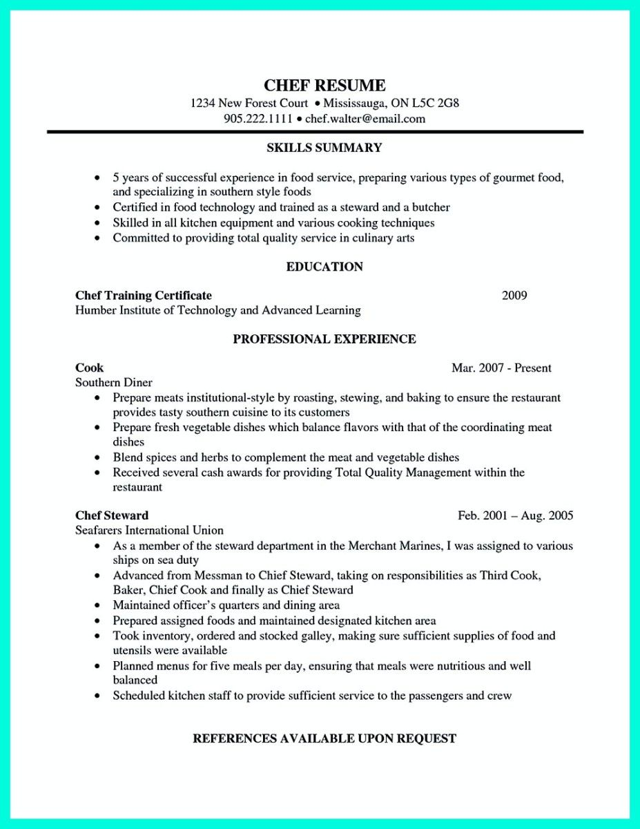 pastry cook resume sample