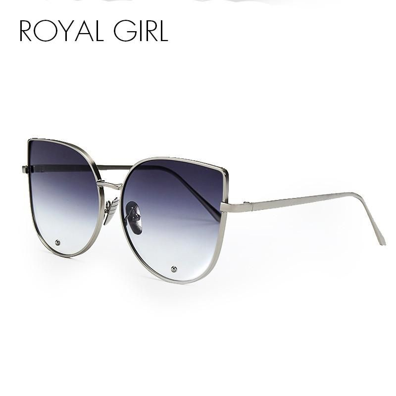 ROYAL GIRL Newest Fashion Cat Eye Sunglasses Women Brand Designer Alloy  Frame Sun Glasses Shades Oculos de sol SS179 8934a9334b