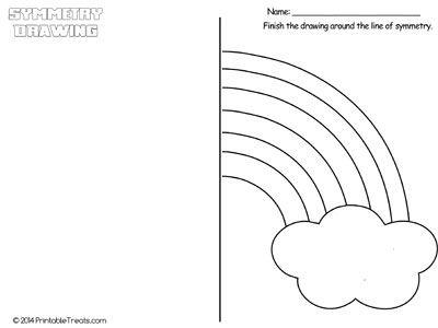 Rainbow Symmetry Drawing Worksheet from PrintableTreats