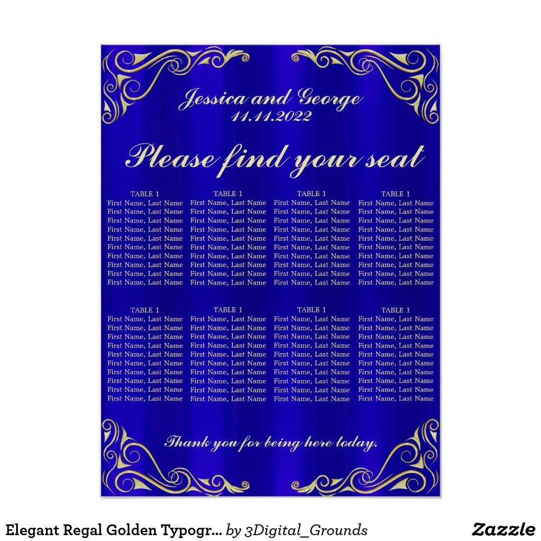 Elegant Regal Golden Typography Seating Chart Zazzle Com Seating Chart Wedding Seating Charts Custom Decor