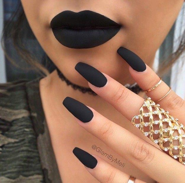 Most Pinned Matte Nail Polish Ideas On Pinterest Matte Black Nails Matte Nails Design Black Acrylic Nail Designs