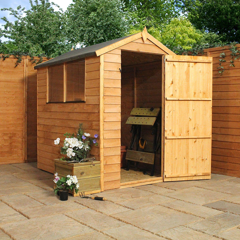 6x4 overlap wooden apex garden shed styrene windows single door by waltons - Garden Sheds 6x4