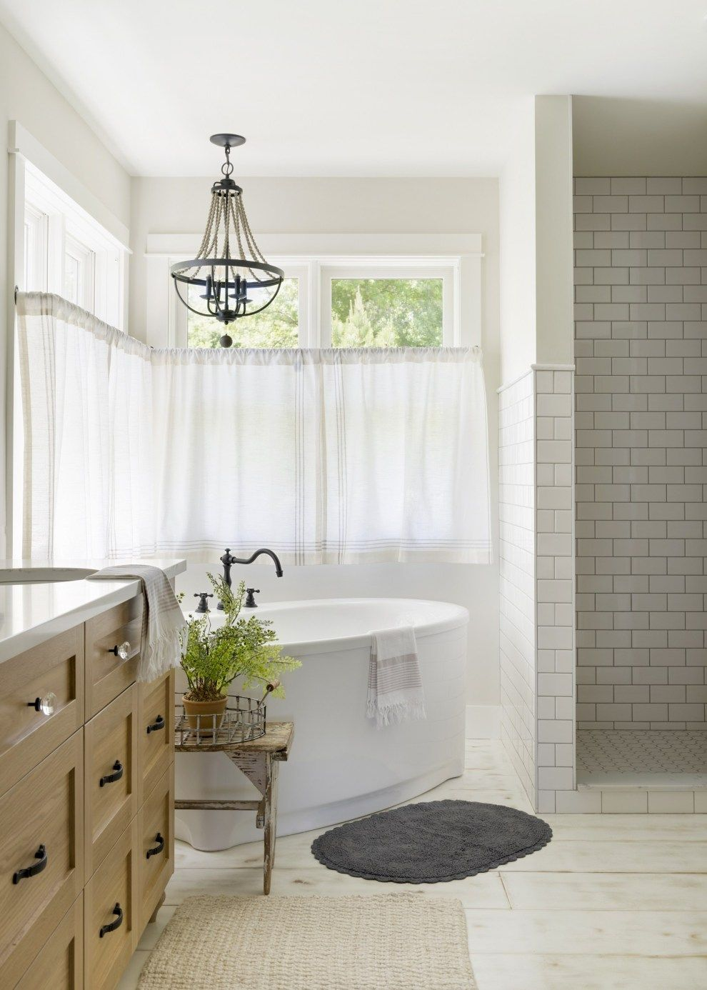 Modern French Country Home | Bathroom window treatments ...