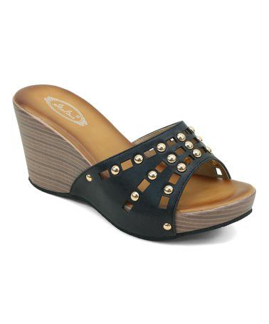 This Black Cutout Stud Wedge Sandal Is Perfect Zulilyfinds