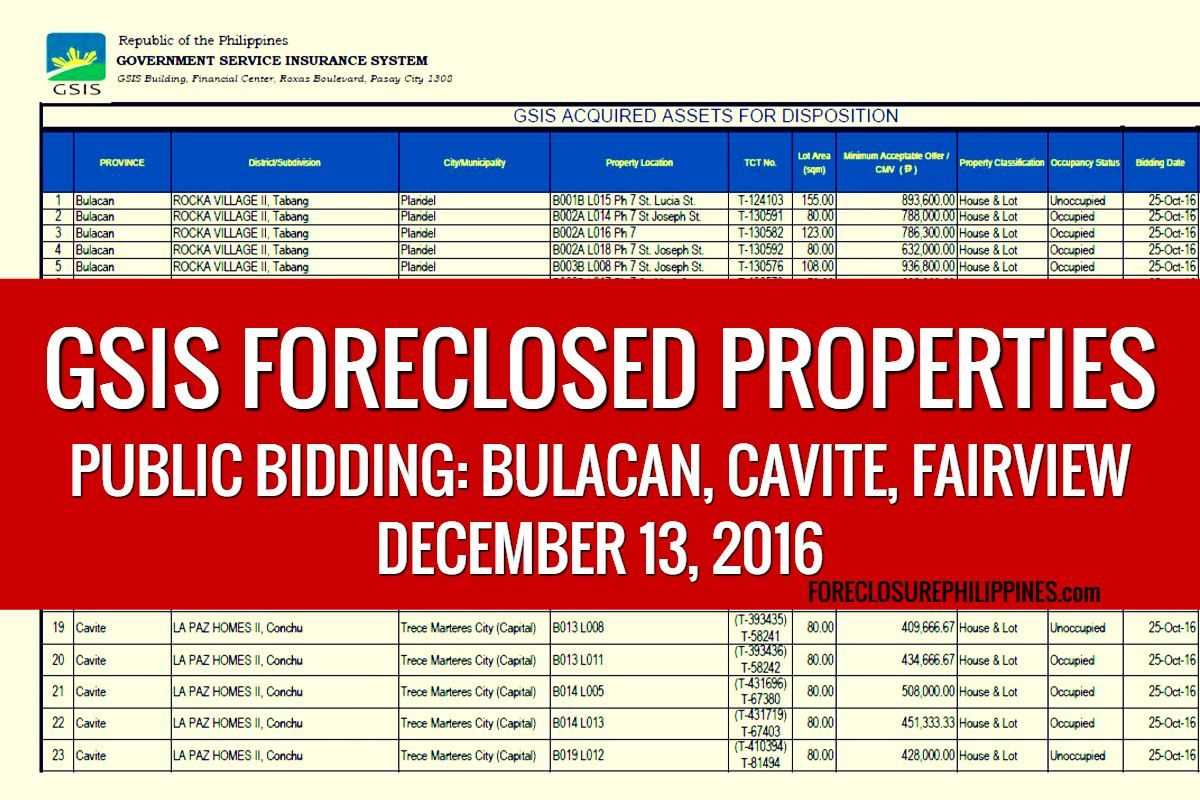Public Bidding of GSIS Foreclosed Properties slated on