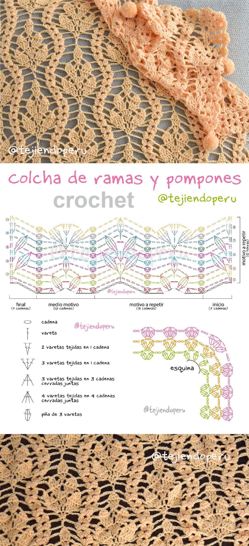 Crochet Tejiendo Perú: colcha con ramas y pompones paso a paso con ...