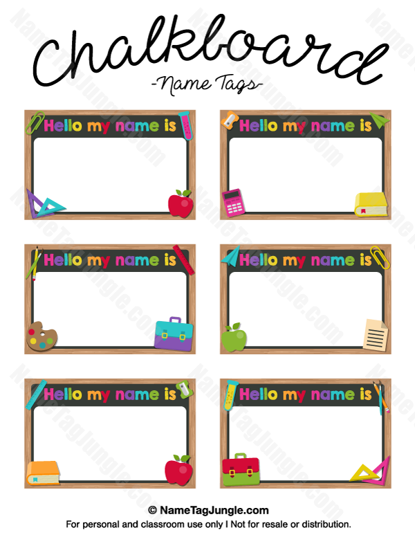 Free printable chalkboard name tags the template can also for Name templates for preschool