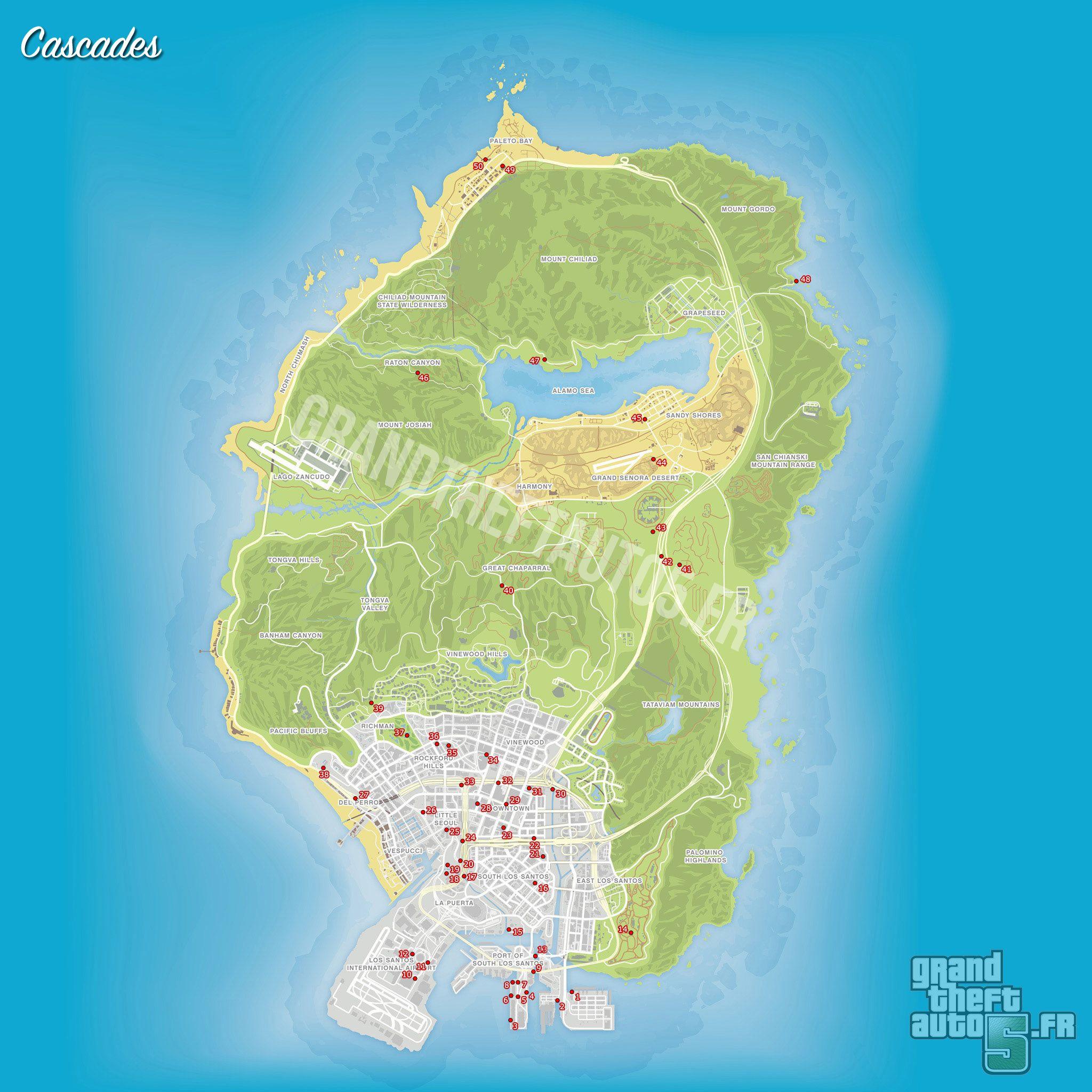 Carte Gta 5 Cascades Jpg 2 048 2 048 Pixels Sous Les Ponts Pont