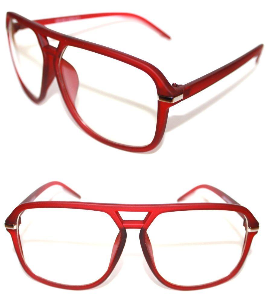 Men's Aviator Vintage Retro Eye Glasses Rubber Matte Red Silver Grandmaster 504 #Kiss #Pilot