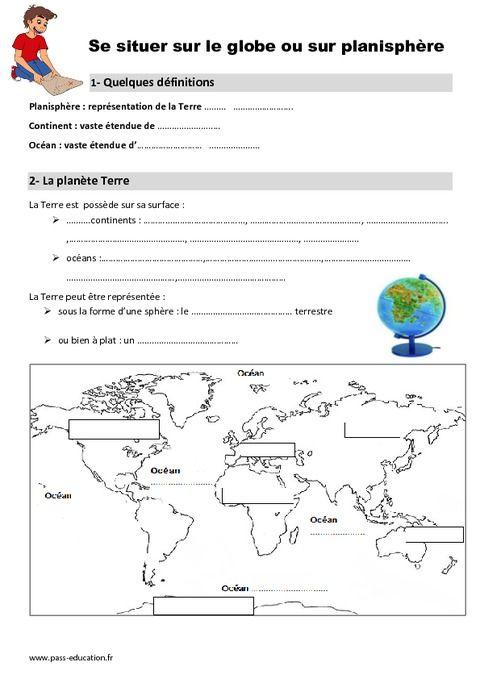 Globe - Planisphère - Ce1 - Leçon | Ce1, Continents et océans, Géographie cm1