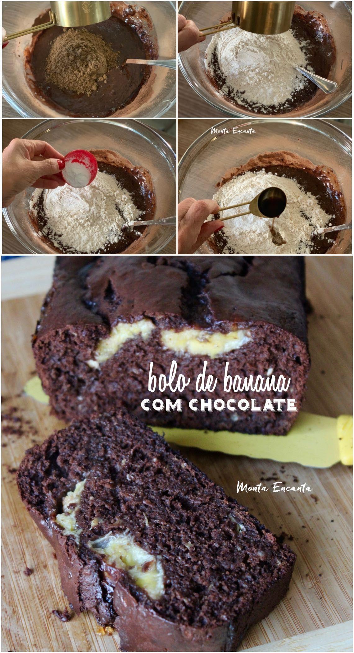 Bolo De Banana Com Chocolate E Delicioso Com Imagens Bolo De Banana Bolo De Chocolate Com Banana Banana Com Chocolate