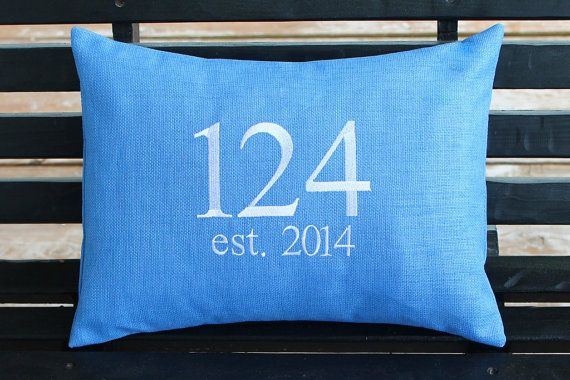 House Number Or Monogram Outdoor Pillow Cover By DesignsByThem
