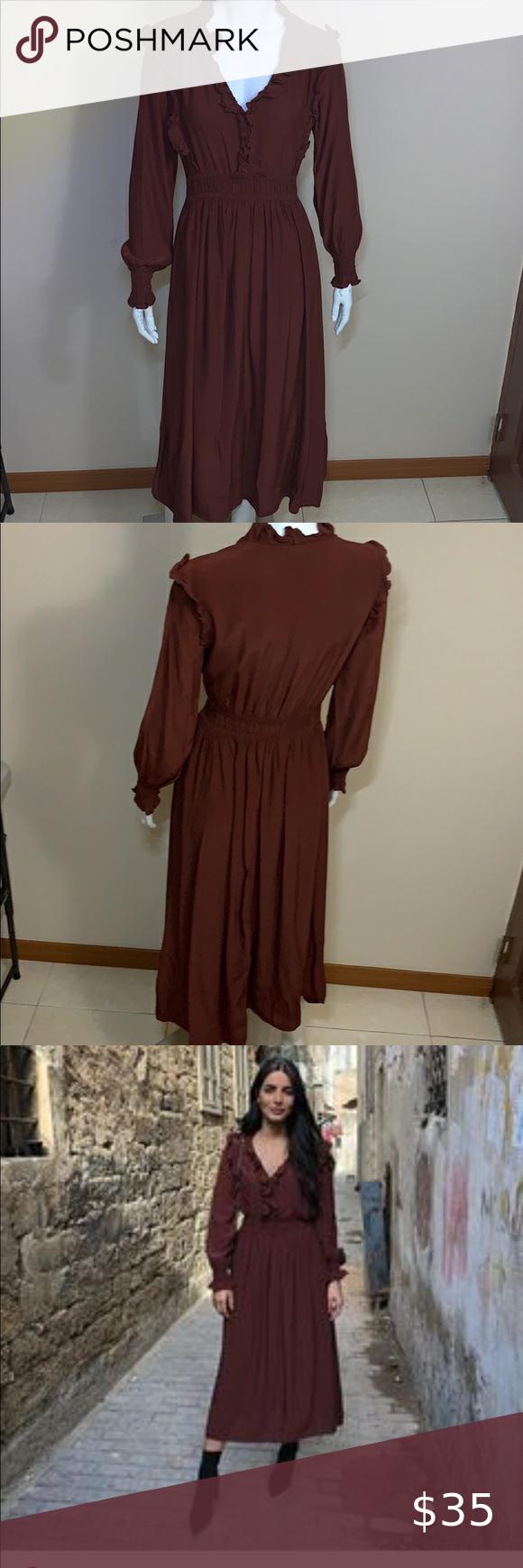 H M Dark Brick Red Dress With Smocking Orange Maxi Dress Snake Print Maxi Dress Maxi Dress With Sleeves [ 1740 x 580 Pixel ]