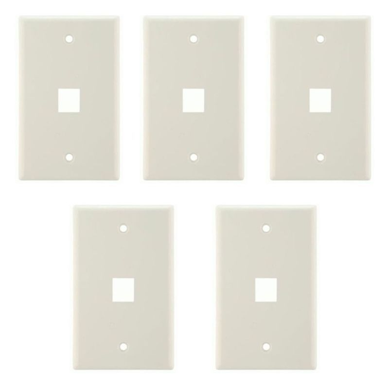 1 Port Hole White Keystone Style Wall Plate For Ethernet Or Network 5 Pack Plates On Wall Wall Plates