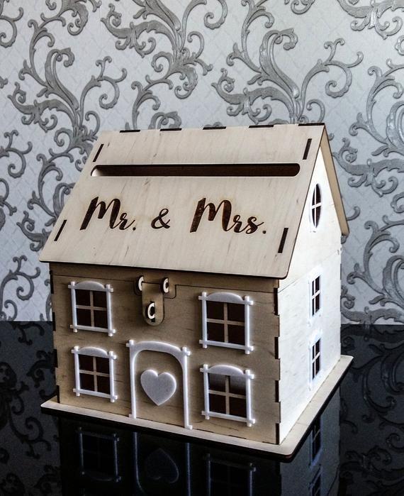 Wooden House Wedding Post Box Rustic Wedding Card Box Engraved
