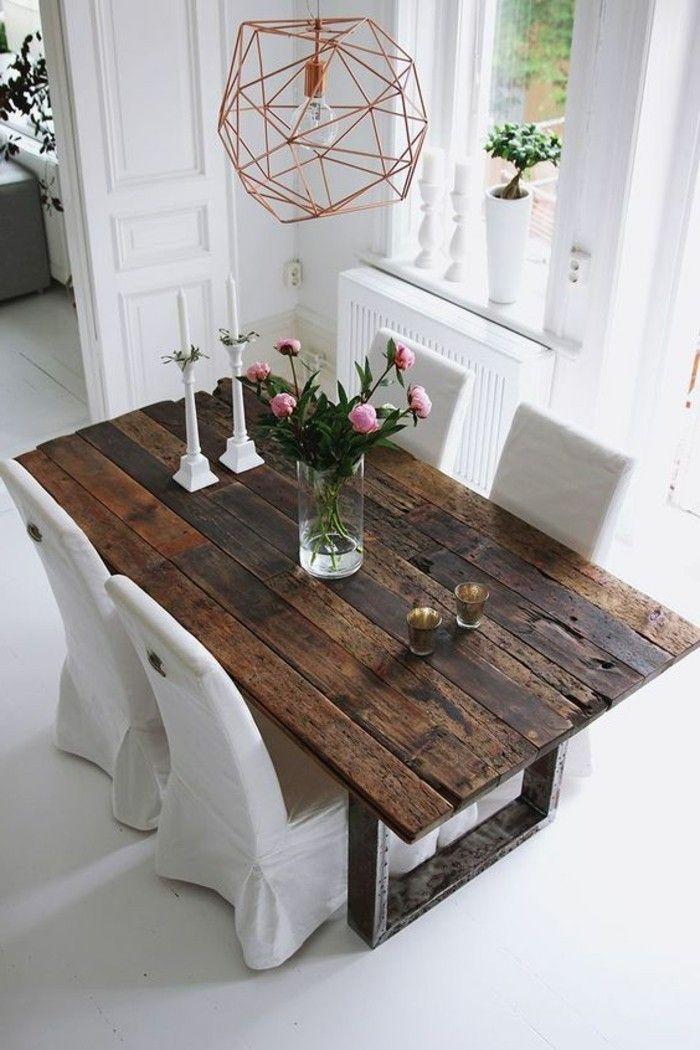 Quelle d co salle manger choisir id es en 64 photos deco d co salle manger table bois - Table salle a manger recup ...