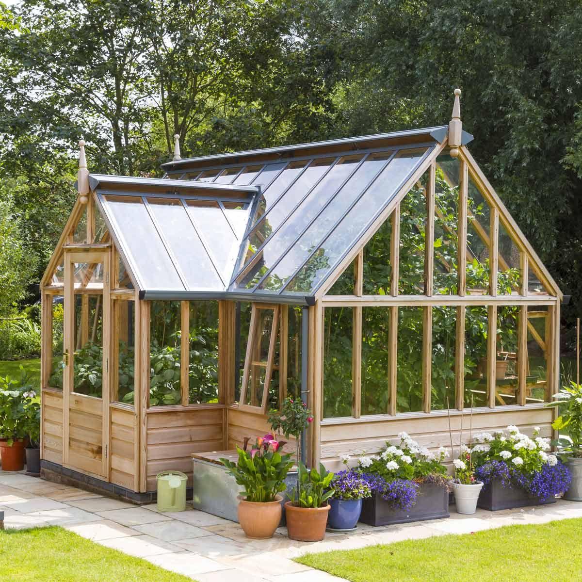 Serre de jardin en bois Portico Gabriel Ash - 11 panneaux | Potting ...