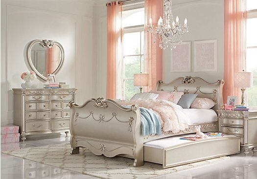 Picture Of Disney Princess Silver 5 Pc Twin Sleigh Bedroom From S Sets Furniture