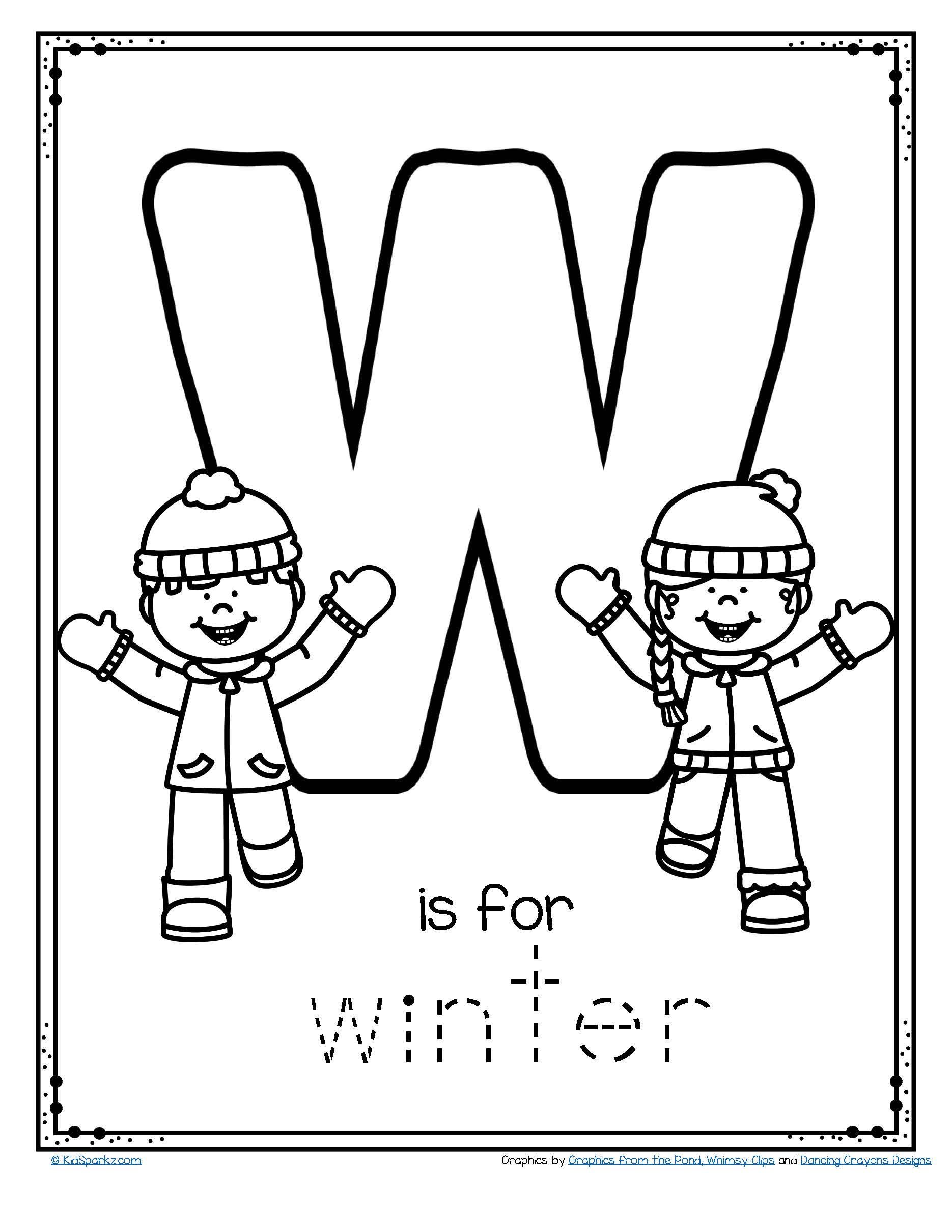 Free W Is For Winter Trace And Color Printable