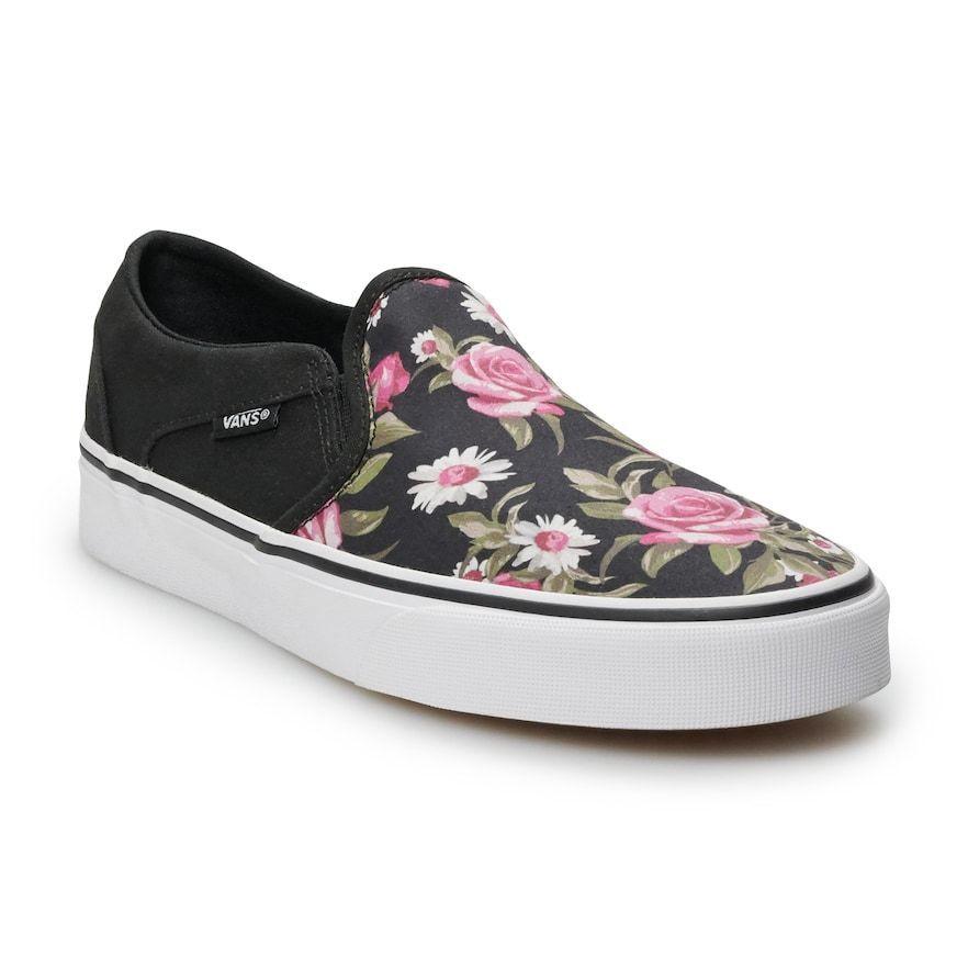 Vans Asher Women's Floral Skate Shoes, Size: 7, Black #women ...