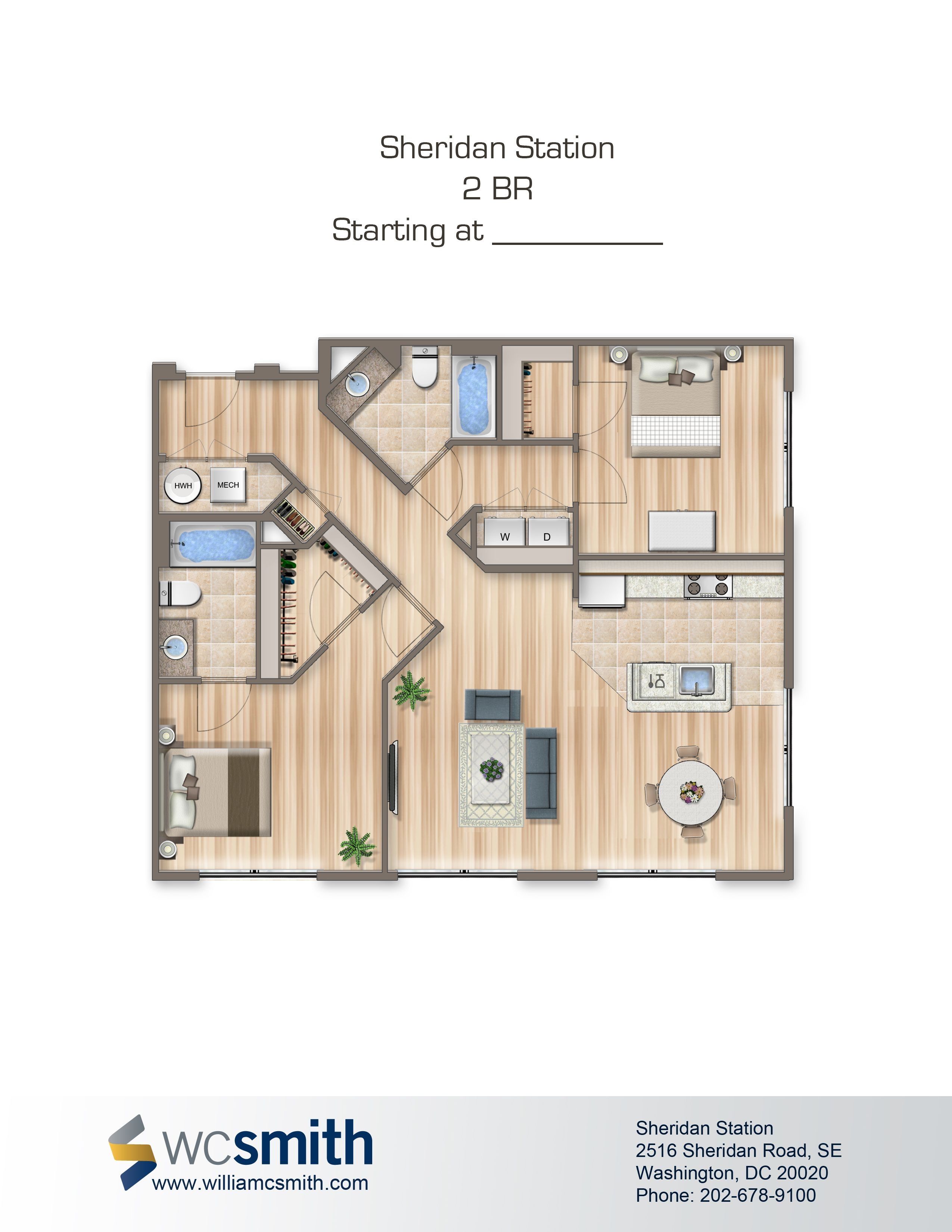 2 Bedroom Apartments For Rent In Dc Custom Two Bedroom Floor Plan  Sheridan Station In Southeast Washington 2018