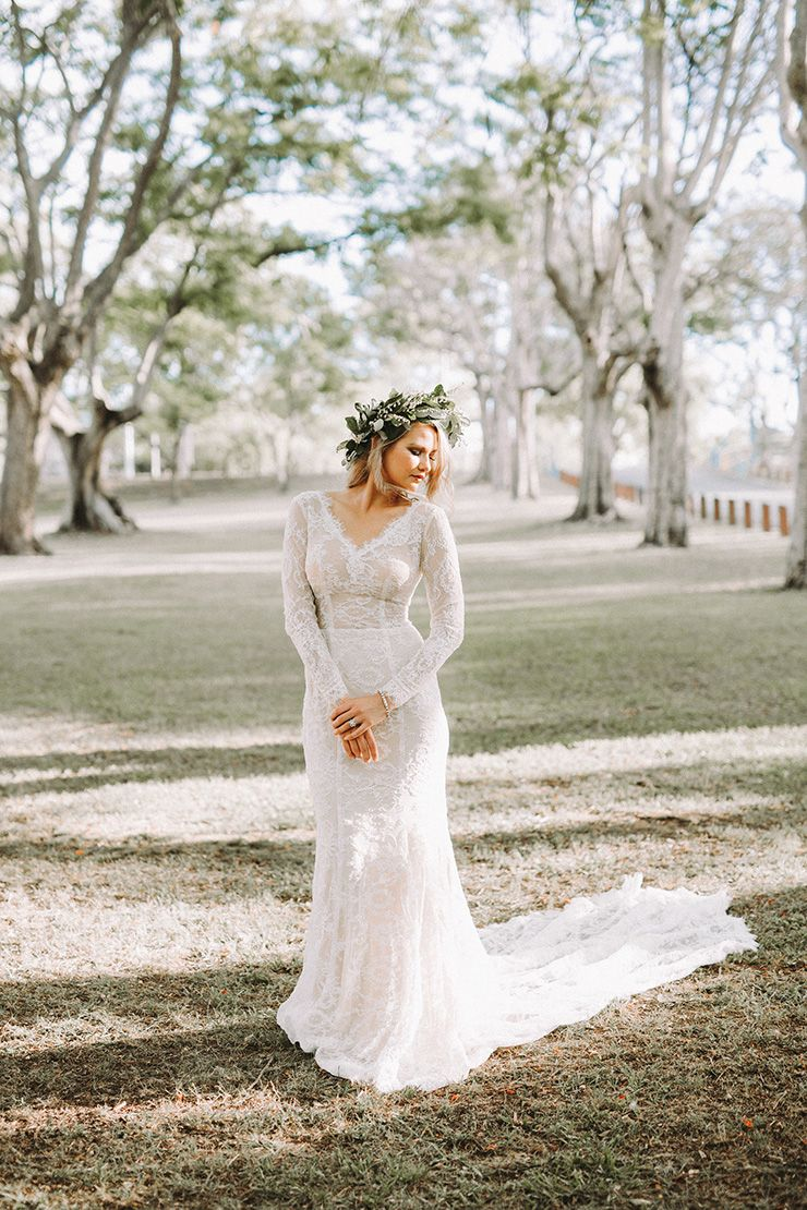 24d5cfa78 Modern long sleeved lace wedding gown with natural foliage flower crown |  Twig + Fawn Photography