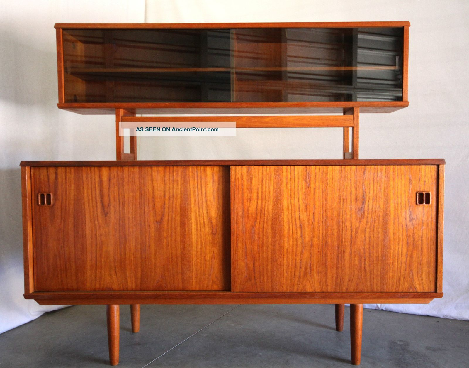 Good Danish Modern Mid Century Teak Credenza Cabinet Wall Unit Sideboard 1960s  Eames 1900 1950 Photo