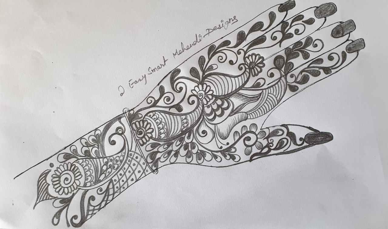 Peacock mehndi design for the front hand