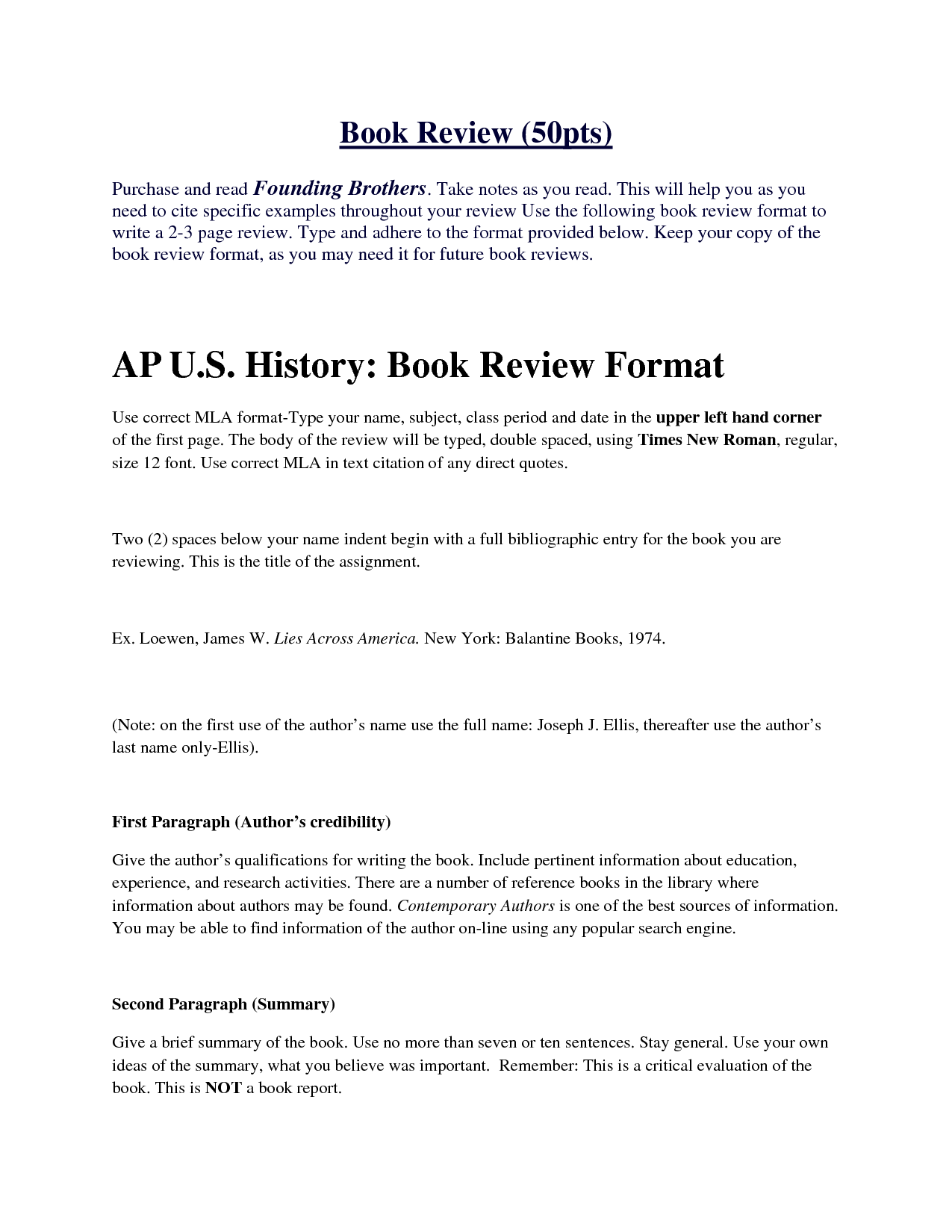 Book Review Template Example Interview Paper Apa Format Report