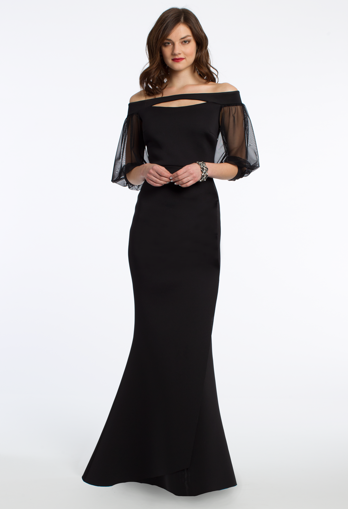 Show Up To Your Weekend Soiree In A Tasteful Long Evening Dress Between The Three Quarter Illusion Slee Evening Gowns With Sleeves Dresses Wedding Guest Dress [ 1732 x 1184 Pixel ]