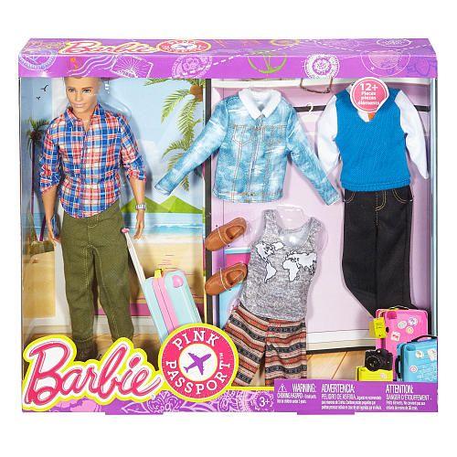 Barbie Pink Passport Ken Fashion Doll Gift Set Mattel