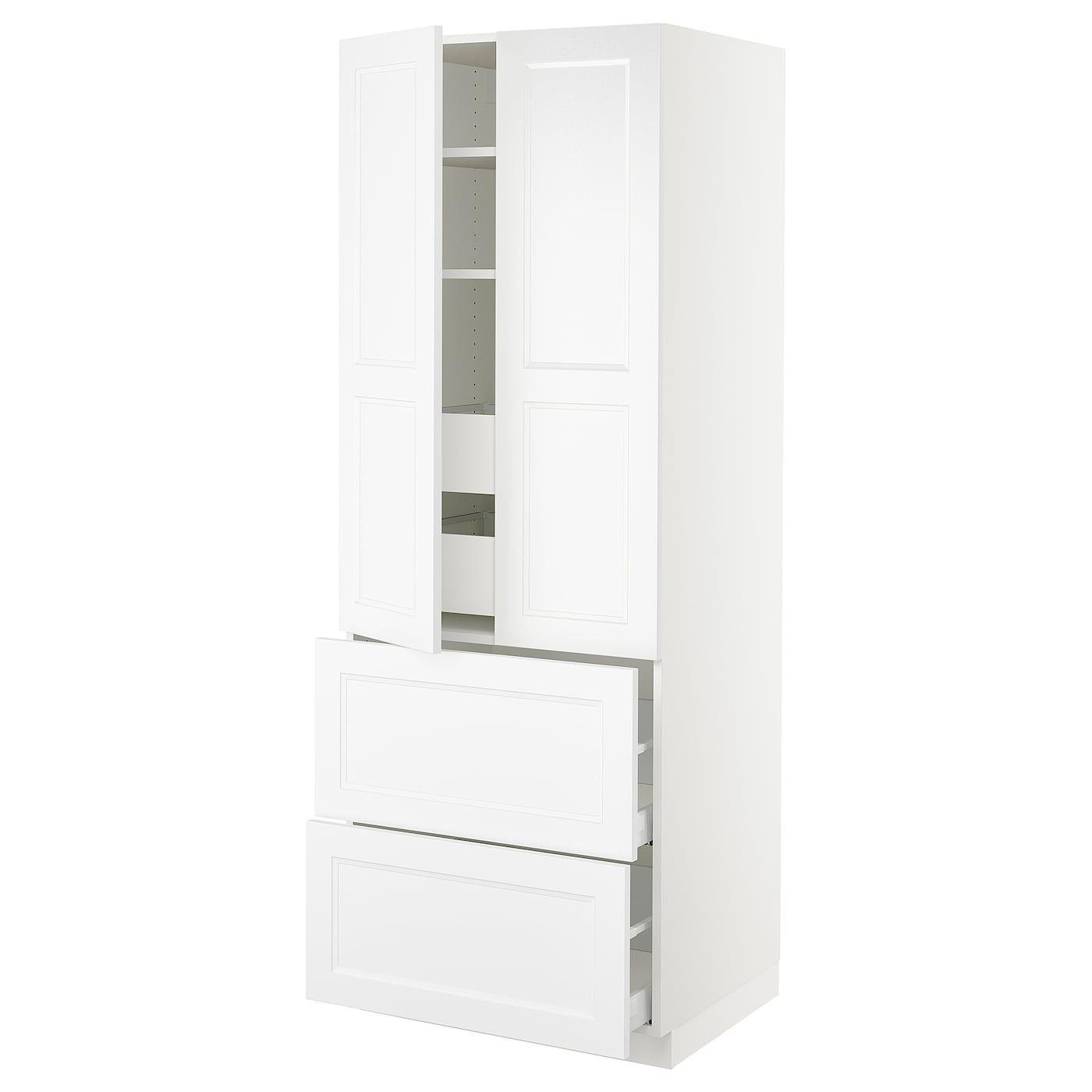 Ikea Sektion White High Cabinet W 2doors 4 Drawers Frame